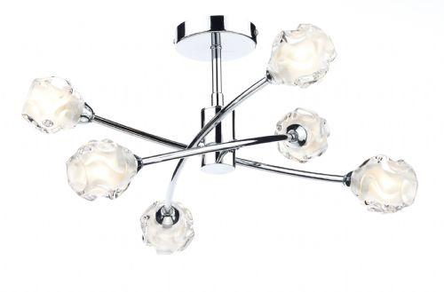 0.1) Seattle 6 Light Semi Flush Polished Chrome  (Class 2 Double Insulated) BXSEA0650-17